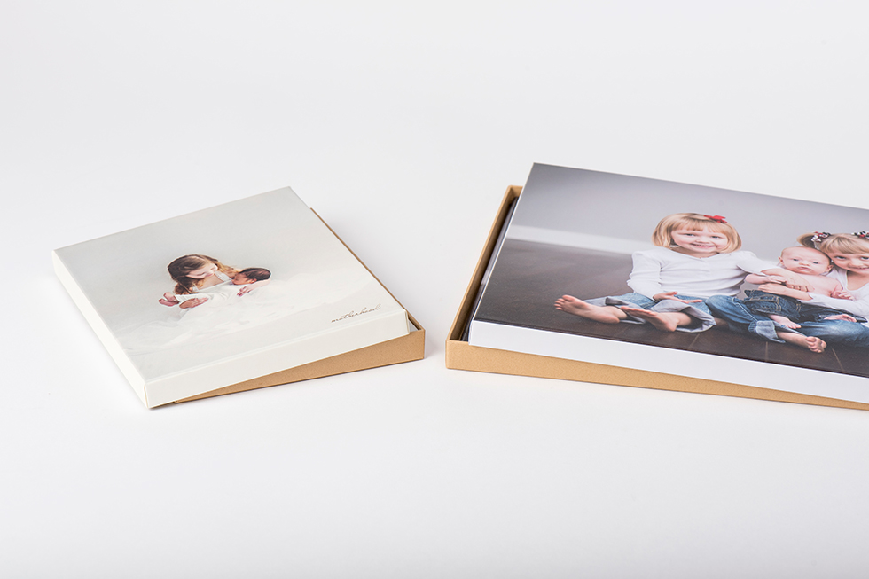AsukaBook Art Layflat Photo Book Gift style boxes with designable lift-top and natural tan bottom
