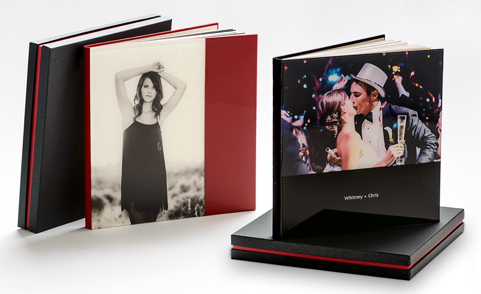 AsukaBook Cosmopolitan Photo Album Semi-Designable Hard Cover with Choice of Vertical or Horizontal Layout in Red or Black colour Block