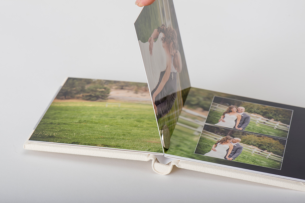 AsukaBook Heirloom Photo Album page thickness compared to a nickel