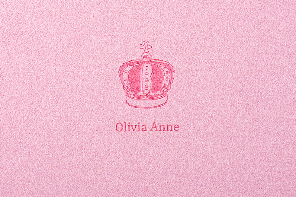 AsukaBook Heirloom Photo Album Crown frame with serif font on pink accent band