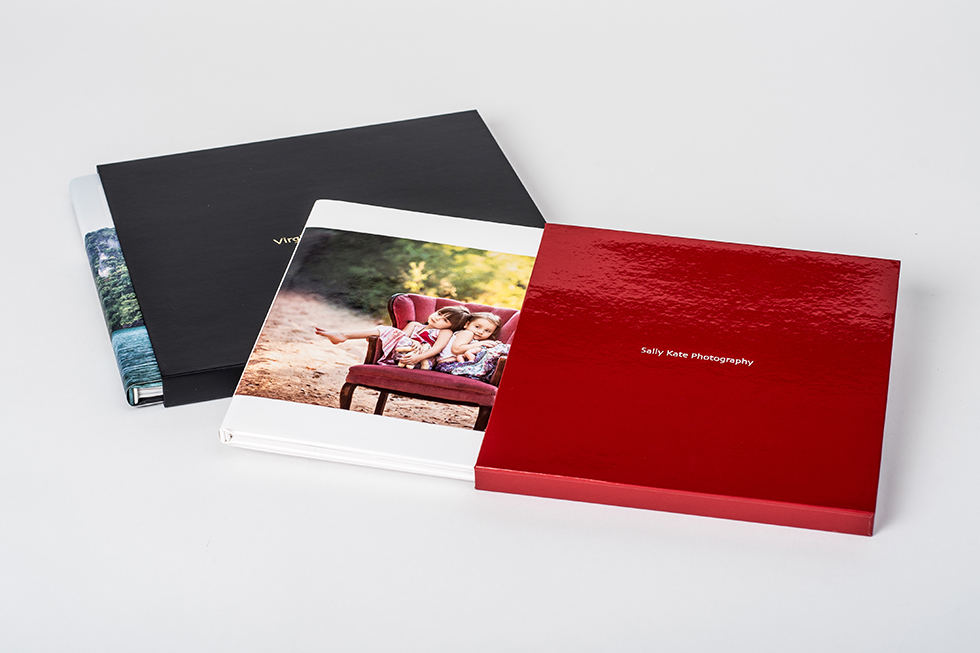 AsukaBook Zen Layflat EX Photo Book Black matte and red glossy slide-in cases and books