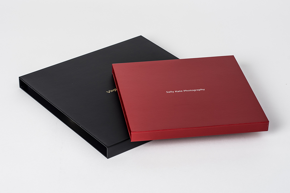 AsukaBook Zen Layflat EX Photo Book Black matte and red glossy slide-in cases