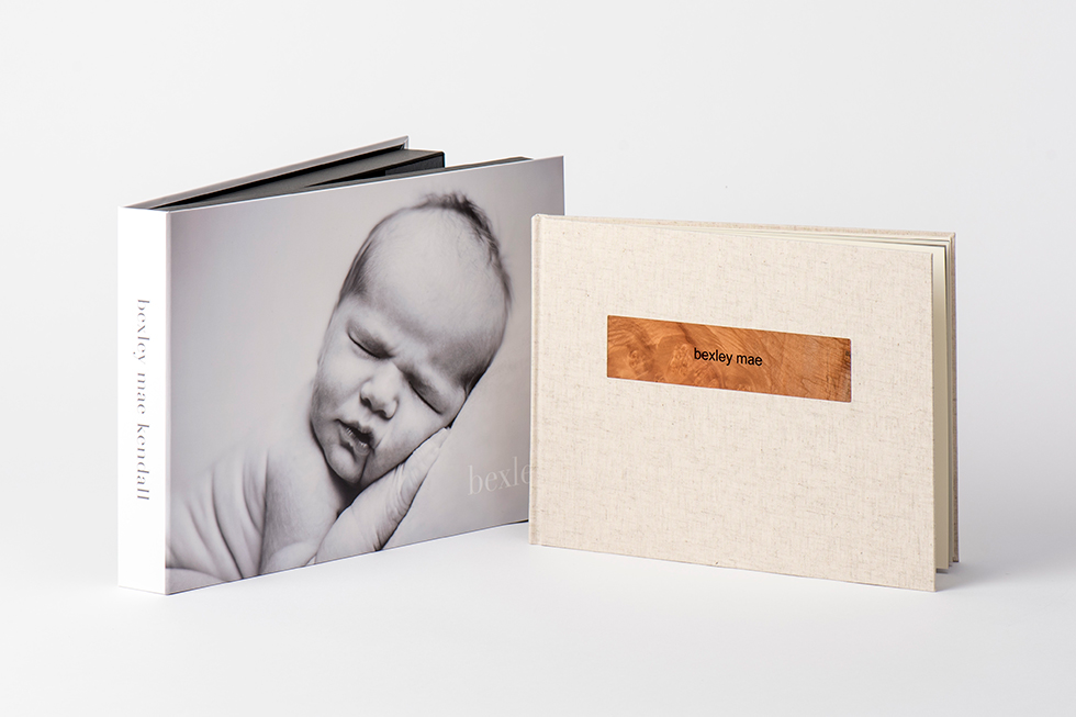 AsukaBook Zen Layflat Impact X Photo Book 11x8 horizontal album with natural linen cover and printed box