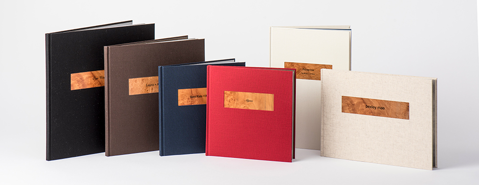AsukaBook Zen Layflat Impact X Photo Book coloured linen-like fabric with laser engraved wood plaque