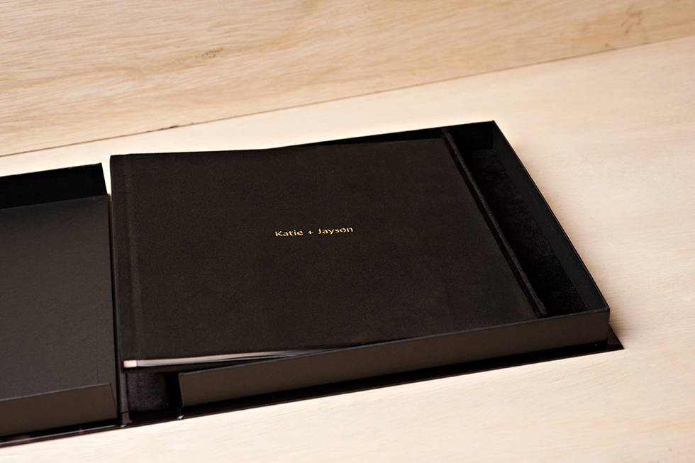 AsukaBook Zen Layflat Impact Photo Book Black faux leather book inside the presentation box