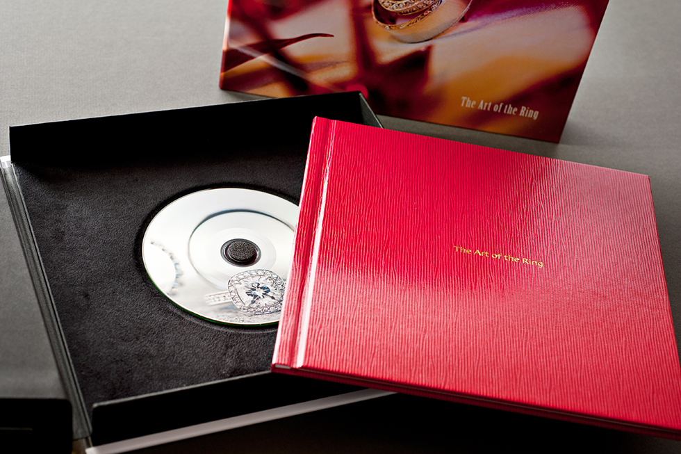AsukaBook Zen Layflat Impact Photo Book with retro red cover and inside of box and front cover of box