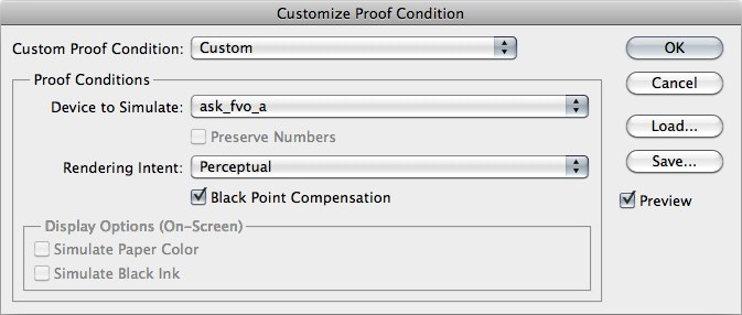 customize proof condition in Photoshop